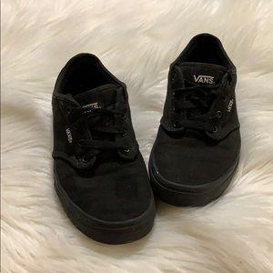Vans Solid Low Top Lace Up Kids School Shoes Black